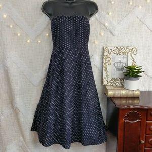 J. Crew navy strapless polka dot dress